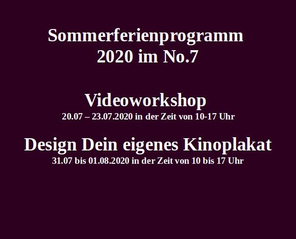 Sommerferienprogramm 2020 im No.7